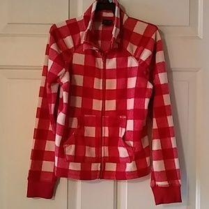 Checkered sweater jacket